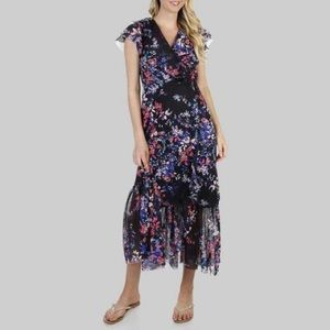 NWT Spense Floral & Ruffle Wrap Maxi Dress- Navy
